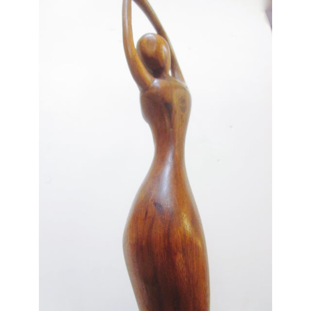 Vintage Modernist Carved Wood Woman Sculpture - Image 6 of 8