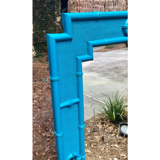 Turquoise Vintage Faux Bamboo Mirror For Sale - Image 8 of 11