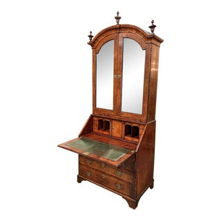 18th Century English Queen Anne Walnut and Burl Secretary With 7 Secret Drawers For Sale