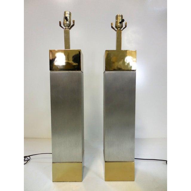 Laurel Brushed Aluminum & Brass Lamps - A Pair - Image 3 of 9