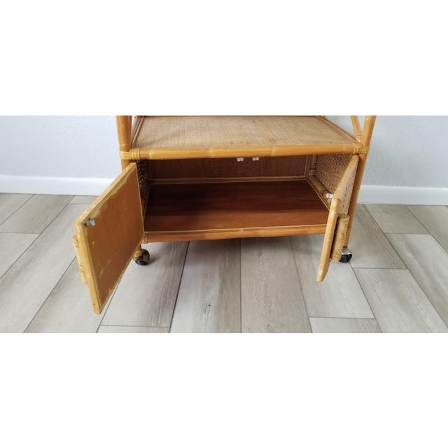 Wood Vintage Two Tier Rolling Bar Cart For Sale - Image 7 of 10