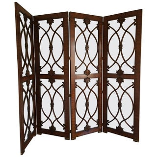 Palisander & Glass Screen Room Divider For Sale