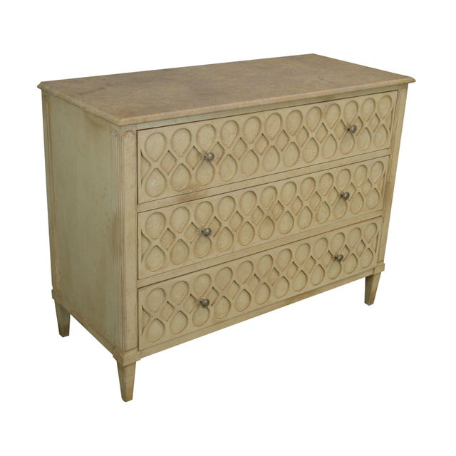 Hickory Chair Atelier Rustic Parchment Painted Marble Top Murano Chest of Drawers For Sale - Image 13 of 13