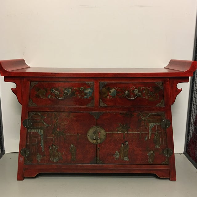 Chinese Antique Style Painted Buffet Cabinet - Image 2 of 8