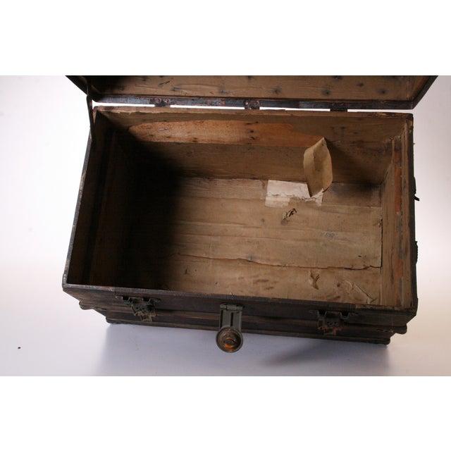 Victorian Wood & Metal Flat Top Brown Steamer Trunk - Image 10 of 11