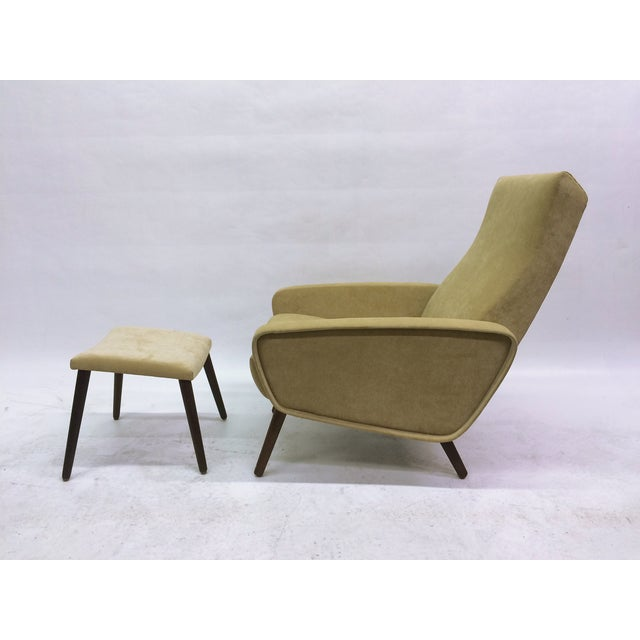 Mid-Century Italian 1950s Recliner With Ottoman - Image 2 of 6