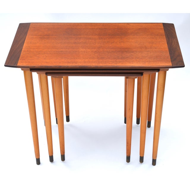 Scandinavian Teak Walnut Nesting Tables, Set of Three 1960s For Sale - Image 9 of 10