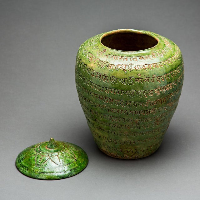 Asian Green-glazed Buddhist Reliquary With Sanskrit Inscriptions For Sale - Image 3 of 4