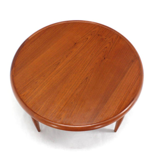 Brown Reversible Flip-Top Danish Modern Round Teak Coffee Table For Sale - Image 8 of 9