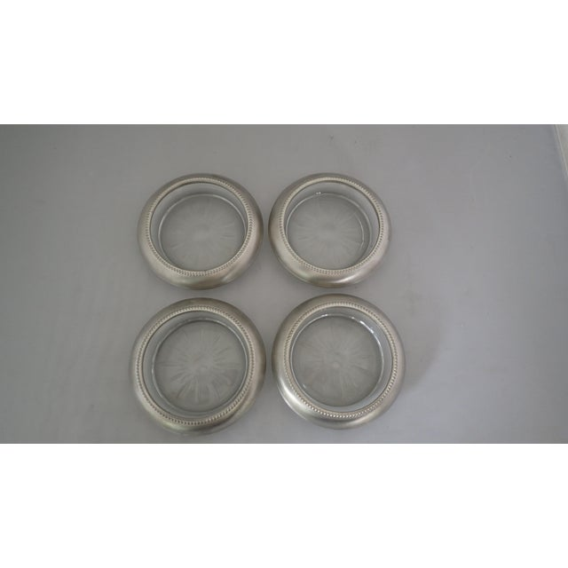 Art Deco Mid-Century Pewter & Glass Coasters - Set of 4 For Sale - Image 3 of 6