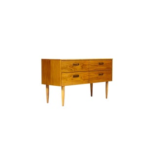 Mid-Century Danish Modern Teak 4 Drawer Low Dresser with Routed Pulls For Sale