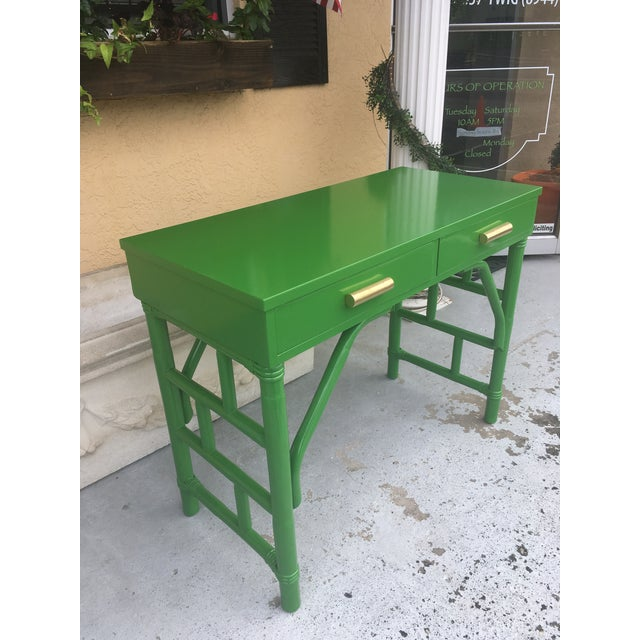 Cute little vintage desk. High gloss dark apple green with gold hardware. Super shiny! Great for any room with eclectic,...