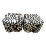 Image of Pair of Zebra Striped Faux Leather Textured 4 Leaf Clover Ottoman Foot Stools For Sale