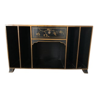 Vintage Chinoiserie Painted Black Lacquered Deskette