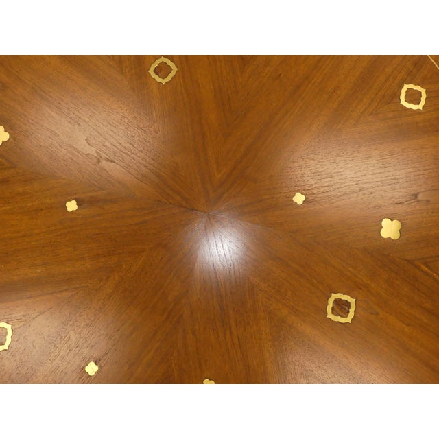 1960s Mid-Century Modern Bert England for Johnson Furniture Brass Inlaid Round Coffee Table For Sale - Image 9 of 10