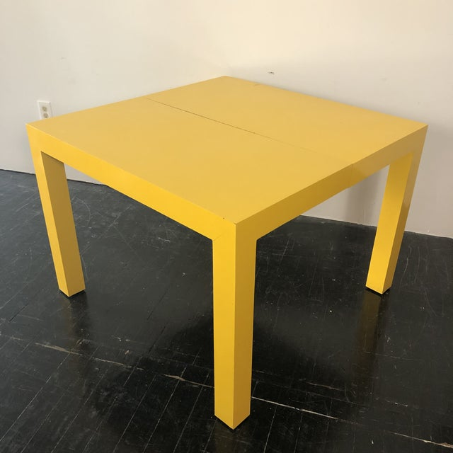 Thayer Coggin 1960s Milo Baughman Thayer Coggin Parsons Yellow Dining Table For Sale - Image 4 of 5