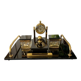 Modernist Art Deco Black Bakelite and Brass Desk Set With Clock, Early 20th Century For Sale