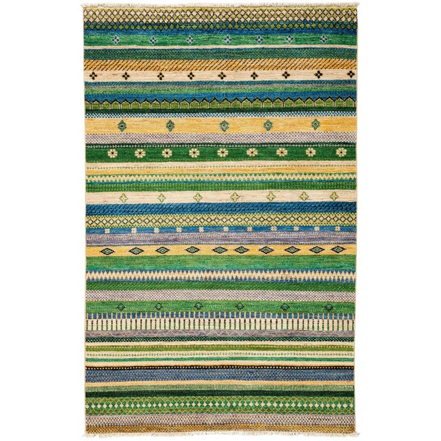 """Lori, Hand Knotted Area Rug - 4'2"""" X 6'2"""" For Sale"""