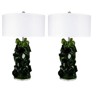 Glass Rock Table Lamps by Swank Lighting Green For Sale