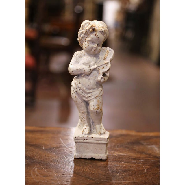 19th Century French Painted Cast Iron Musical Angelic Cherubs, Set of 4 For Sale - Image 11 of 13