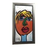 """Image of 1980s Peter Keil """"Colorful Face"""" Painting For Sale"""