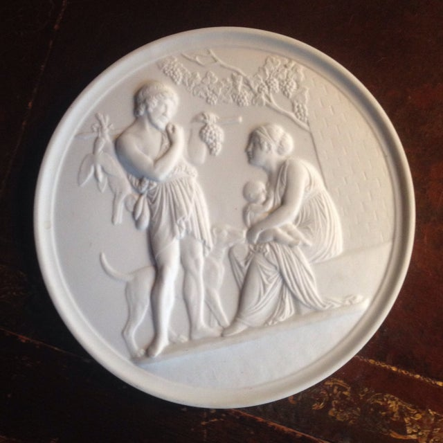 1970s Bing & Grondahl B&g Bisque Autum Plaque For Sale - Image 5 of 5