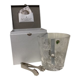 Waterford Crystal Snowflake Ice Bucket & Tongs Gift Set For Sale