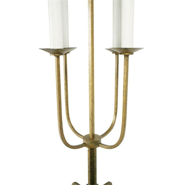 Gilt Wrought Iron Candelabra Floor Lamp by Tommi Parzinger For Sale In New York - Image 6 of 9