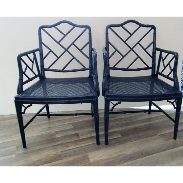 1980s Vintage Chinese Chippendale Arm Chairs -a Pair For Sale - Image 4 of 8