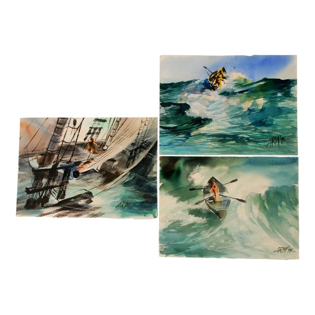 Seascape Watercolor Paintings - Set of 3 For Sale