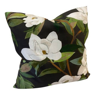 """20"""" Deep Green and Brown Magnolia Botanical Floral Print Feather Pillow For Sale"""