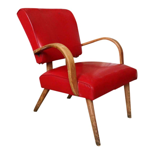 American 1950s Red Vinyl Armchair - Image 1 of 8