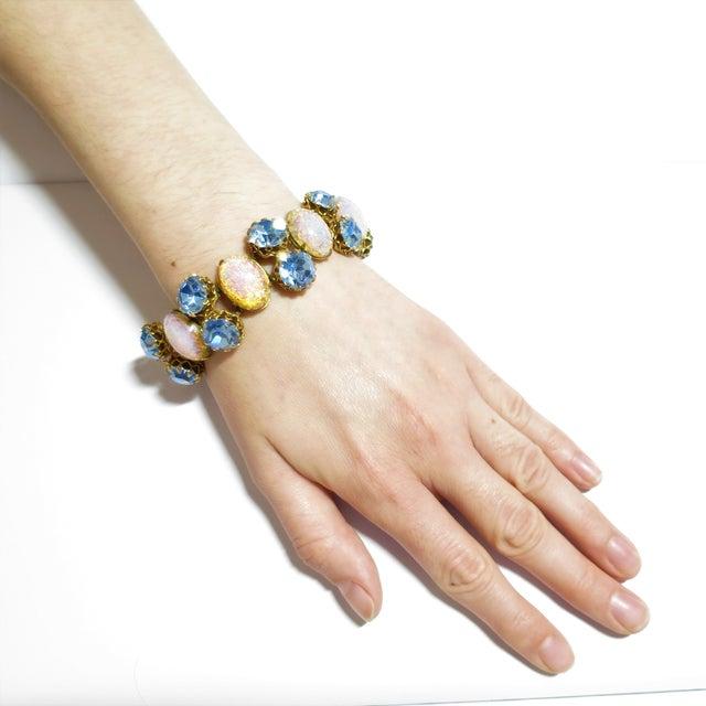Schiaparelli Opal Art Glass Bracelet Suite 1950s For Sale - Image 12 of 13