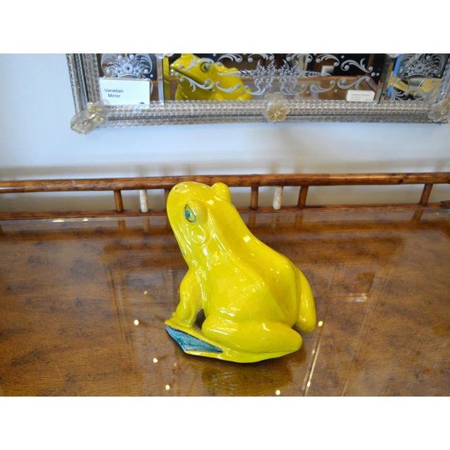 Italian Neon Yellow & Green Ceramic Pottery Fountain Frog Outdoor Sculpture For Sale - Image 12 of 13