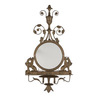 Regency Style Bronze Mirror With Griffins and Candle Sconces For Sale