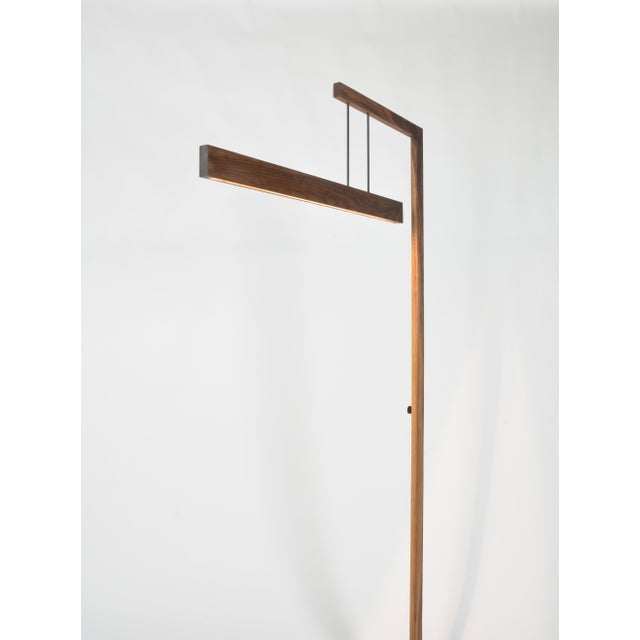 Contemporary OVUUD Float Walnut Floor Lamp With Suspended Dimmable Led Lighting Element For Sale - Image 3 of 9