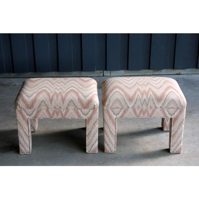 1980s Contemporary Flamestitch Parsons Ottomans, a Pair For Sale - Image 4 of 10