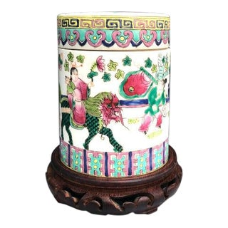 Asian Ceramic Lidded Canister Box on Stand For Sale
