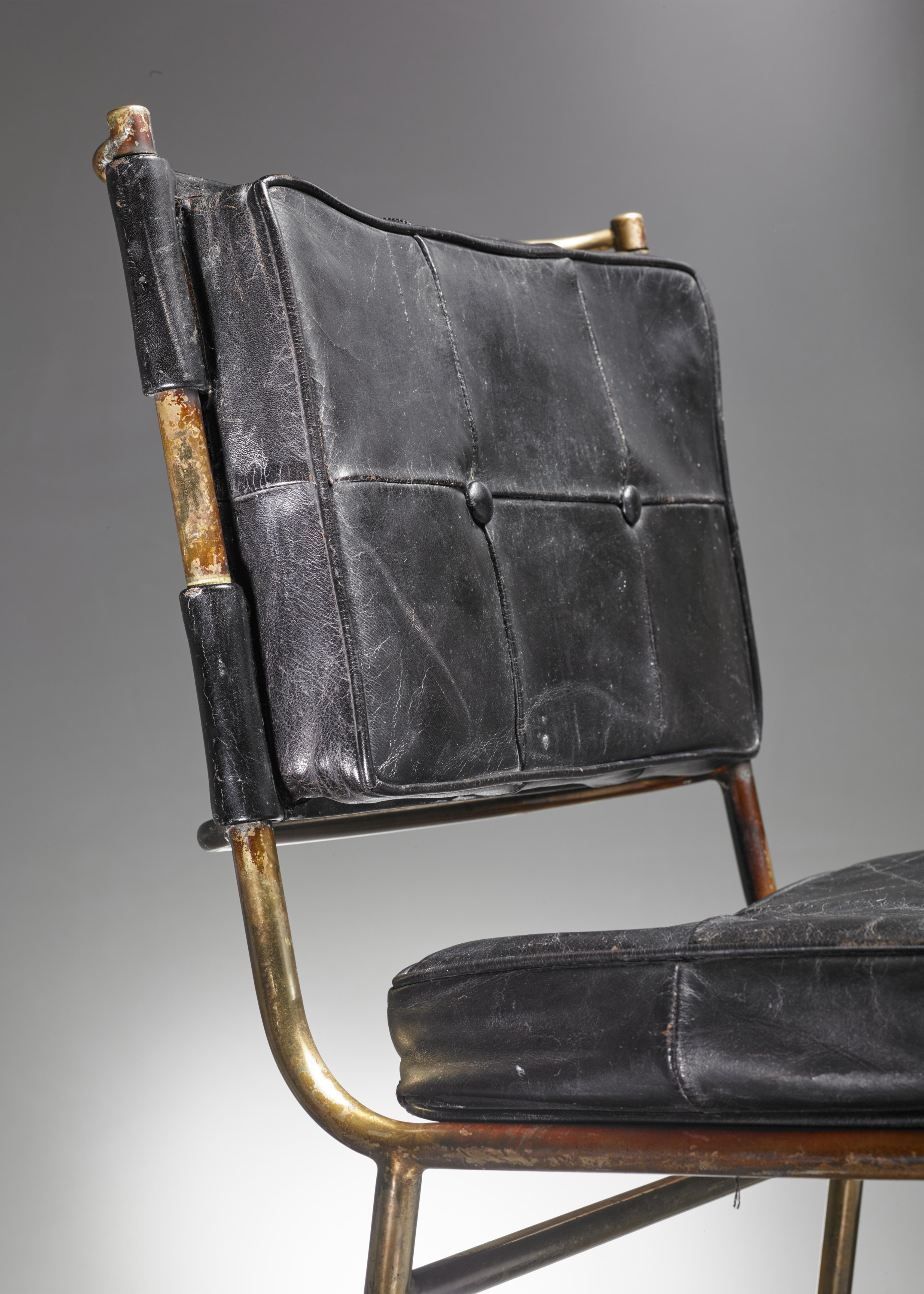 Mathieu Matégot Rare Chair With Brass Frame And Leather Cushions, France    Image 6 Of