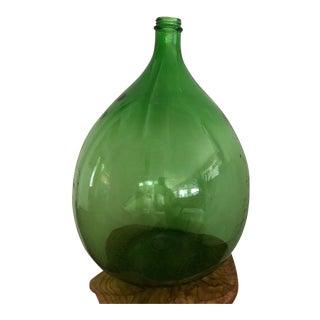 Large Emerald Green Glass Demijohn Bottle For Sale