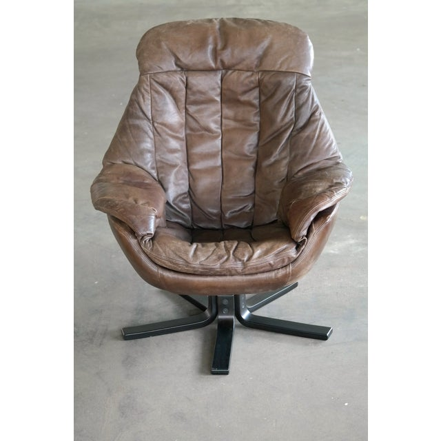 Mid-Century Modern Danish Mid-Century Brown Leather Egg Chair with Ottoman by H. W. Klein For Sale - Image 3 of 13