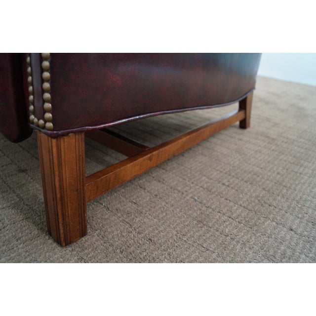 Quality Oxblood Leather Chippendale Wing Chair - Image 6 of 10