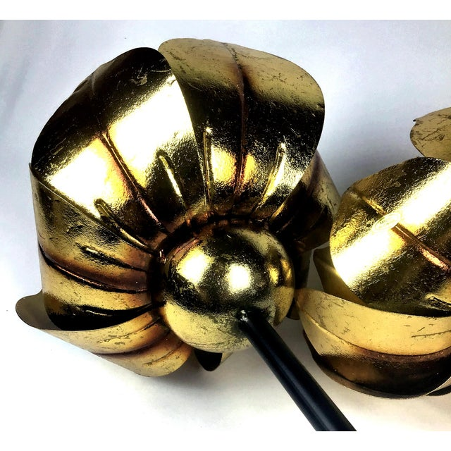 Metal Gold Finish Tall Statement Lotus Design Candle Holders - Set of 3 For Sale - Image 7 of 10