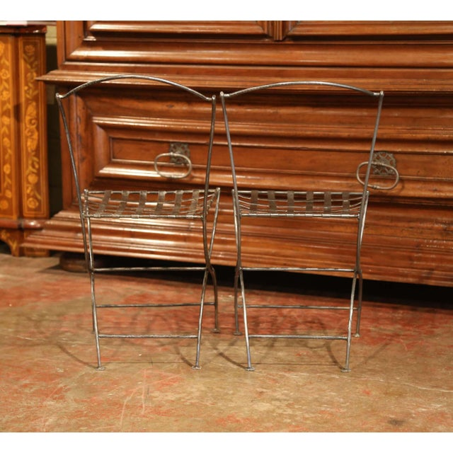 19th Century French Polished Iron Bistro Chairs From Paris - a Pair For Sale - Image 10 of 11
