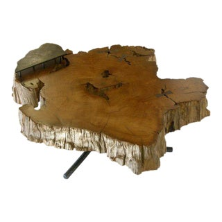 Freeform Teak Coffee Table With Hand Forged Iron Tripod Base For Sale