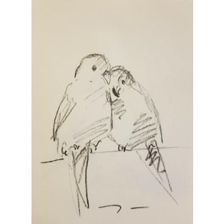Two Lovebirds Charcoal Drawing For Sale