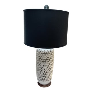 1960s Blanc De Chine Lamp with Black Shade For Sale