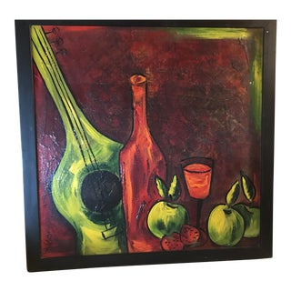 Vintage Abstract Oil Painting,Still Life,Musical Instruments For Sale