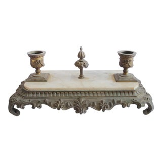 Antique Bronze and Marble Inkwell For Sale