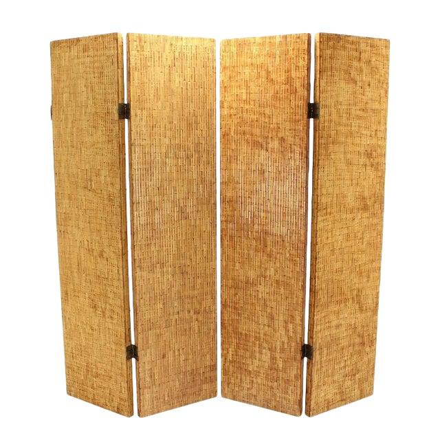 Figural Burnt Bamboo Large Folding Screen Room Divider For Sale